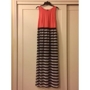 Coral Maxi Dress with Stripes